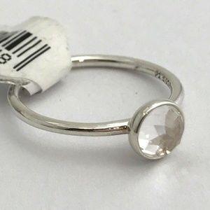 PANDORA April Droplet Silver Rock Crystal Ring 7.5